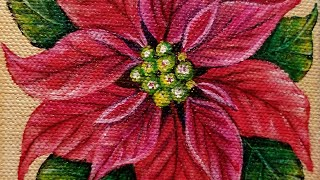 Christmas Poinsettia Flower LIVE Acrylic Painting Tutorial