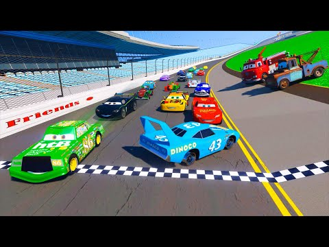 Race Cars 2 Daytona McQueen Chick Hicks The King DINOCO and All Cars Friends Videos for Kids & Songs