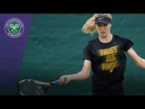 Eugenie Bouchard hits Wimbledon 2017 grass