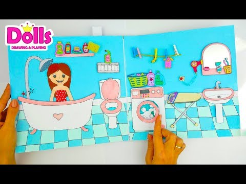 HOW TO MAKE PAPER DOLL & NEW DOLLHOUSE  IN ALBUM DIY TUTORIAL CRAFTS FOR KIDS