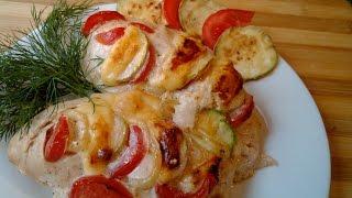 Сочная куриная грудка с овощами, запеченная в духовке!