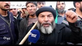 مظاهرات تطالب بإزاله الحواجز وإشعال الجبهات
