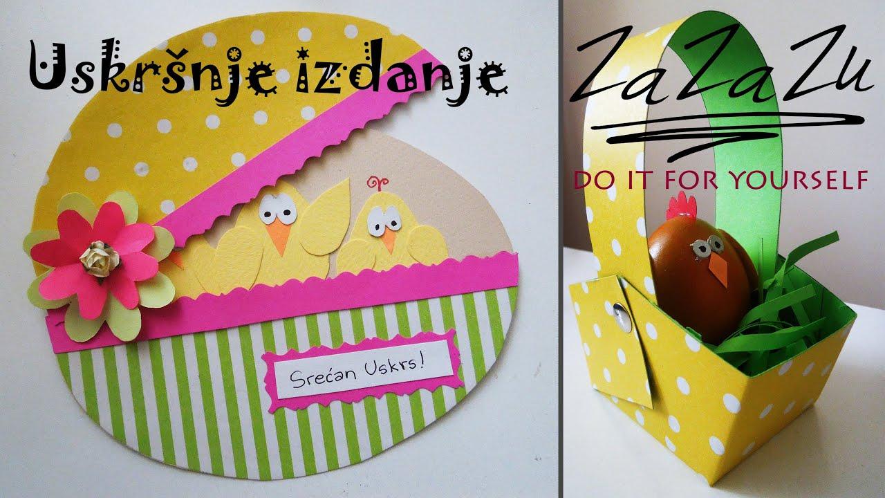 ideje za uskrsne čestitke Uskrsnja korpica, jaje i cestitka   DIY Easter basket, egg and  ideje za uskrsne čestitke
