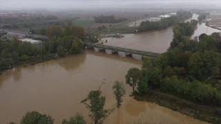 Alluvione Piemonte, con il drone sul Bormida: il fiume oltre il livello di guardia