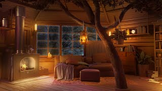 Tree House Ambience - Reląxing Gentle Rain Sounds & Fireplace Sounds to Sleep, Relax and Study