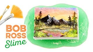 I Tried Following A Bob Ross Tutorial on SLIME!! ASMR Daiso Clay Satisfaction