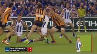 Explosive fighting in AFL 1st Quarter - Hawks v Roos '15