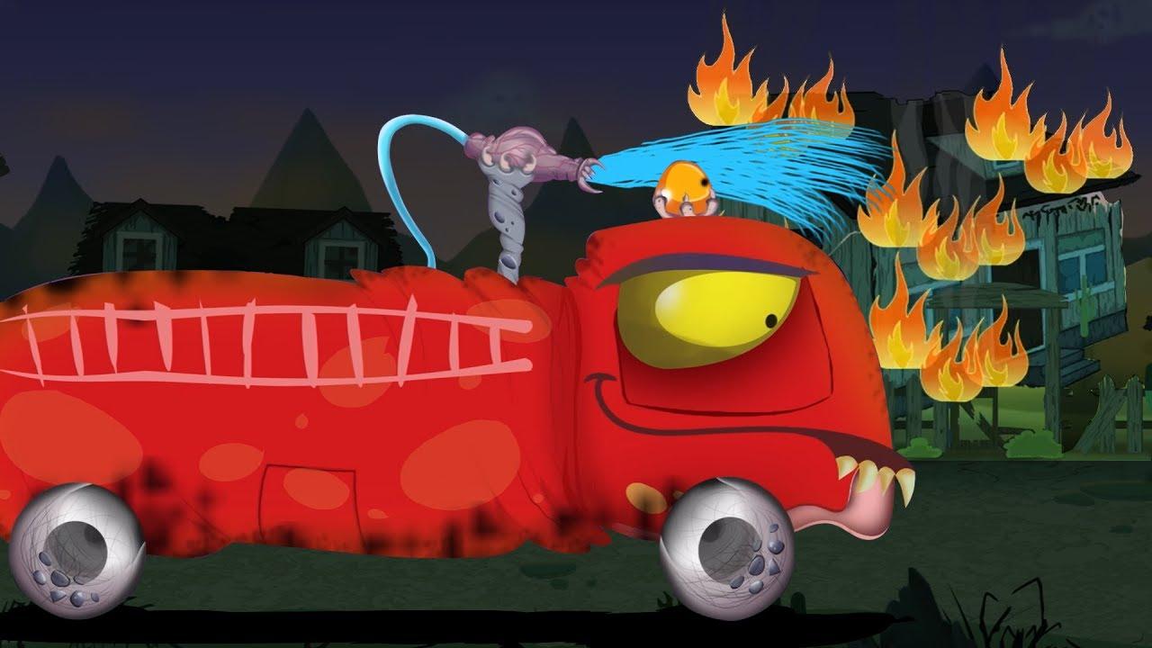 Menakutkan Truk Pemadam Kebakaran Kendaraan Untuk Anak Truk Halloween Scary Truck Fire Truck Youtube