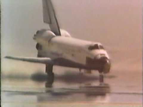 First space shuttle landing Columbia 1981 - YouTube