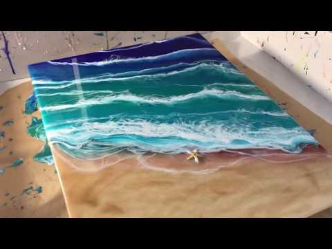 47 - Super cool, Ocean & Beach - Resin Art  Beginner -  Final layer makes it POP