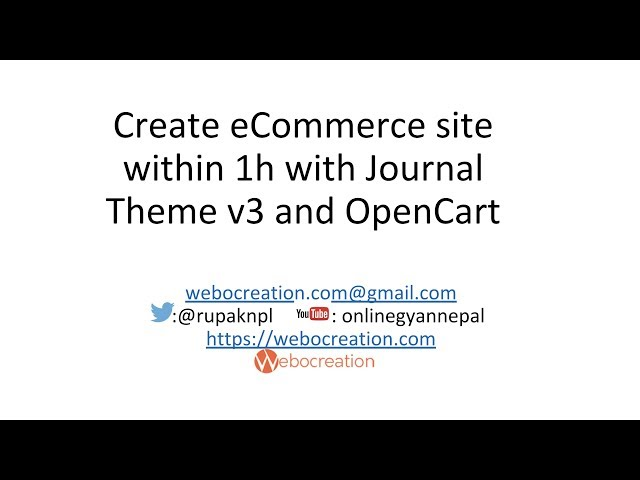 With Journal Theme v3 and Opencart, create eCommerce site within 1h