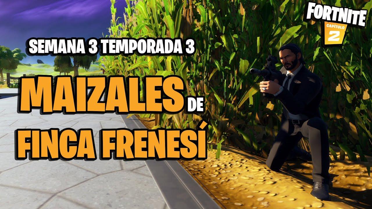 Fortnite Capítulo 2 - Temporada 3: inflige daño desde dentro de un maizal en Finca Frenesí
