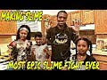 MAKING SLIME WITH THE KIDS (MOST EPIC SLIME FIGHT EVER)