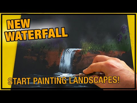 New Waterfall / Day 079 / Landscape Painting Demo / For Beginners / Daily Art Therapy