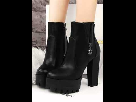 Black grey chunky heels high heel ankle boots.avi - YouTube