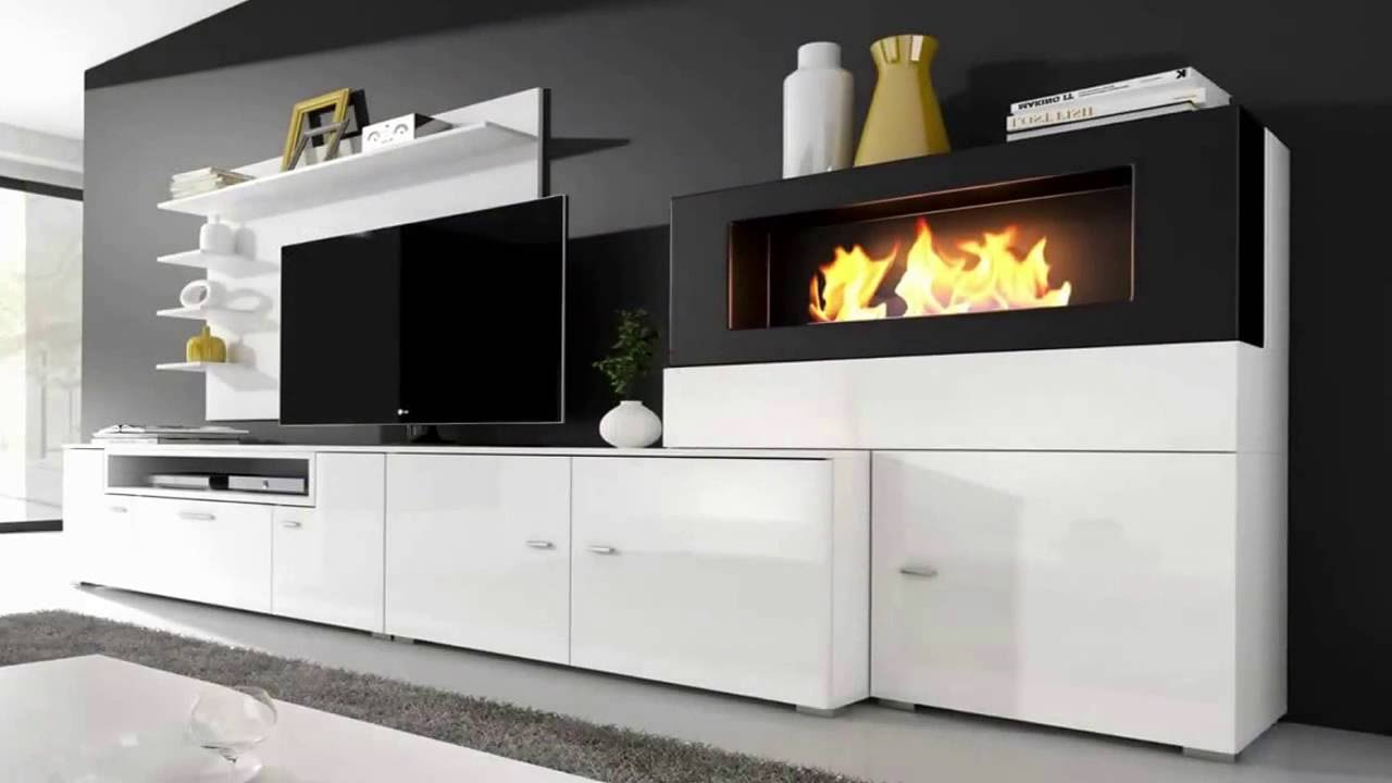 Mueble de sal n olympo con chimenea youtube for Muebles esquina para salon