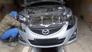 Mazda 6 снятие  и установка бампера,полировка фар