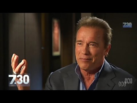 Arnold Schwarzenegger talks politics and action with 7.30's Leigh Sales.