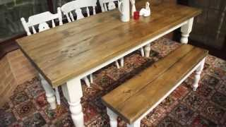 """Made To Order £595 - 6' By 2' 6"""" Shabby Chic Table, 4 Chairs And A Bench Finished In Farrow And Ball"""