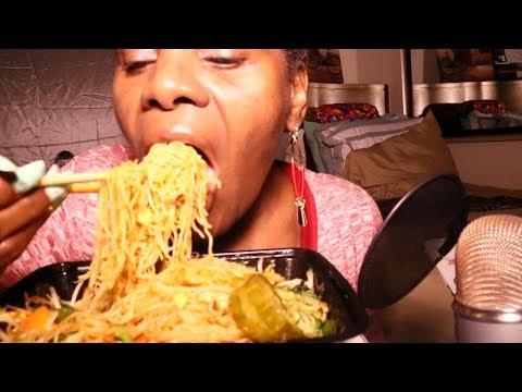 Malaga Flat Noodles ASMR Eating Sounds Chopsticks Madness!