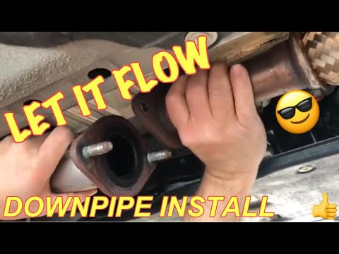 INFINITI Q50 MEGAN LOWER DOWNPIPES INSTALLATION: How to install inexpensive lower downpipes on a Q50