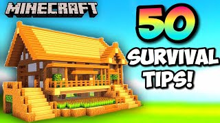 50 EASY Minecraft SURVIVAL TIPS! Ultimate Guide 2019
