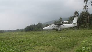 Landing on a Grassy Airstrip in the Solomon Islands