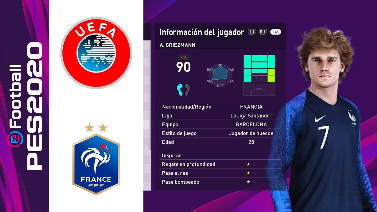 Pes 2020 Francia Players Faces Ratings Youtube