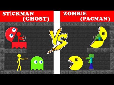 Pacman Vs Stickman - Minecraft Animation