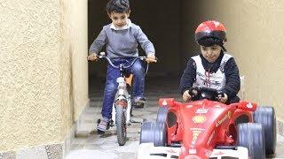 تحدي بين سياره السباق-والدراجه بين زياد والياس