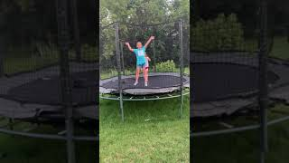 Kaylee And Anicka On The Trampoline.