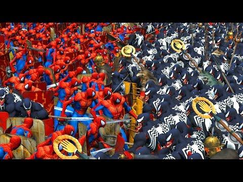 1000 SPIDERMAN VS 1000 VENOM   MASSIVE SUPERHEROES BATTLE