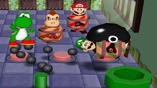 Mario Party 2 - All Funny Minigames #1 - Mario Yoshi Donkey Kong Luigi (Master CPU)
