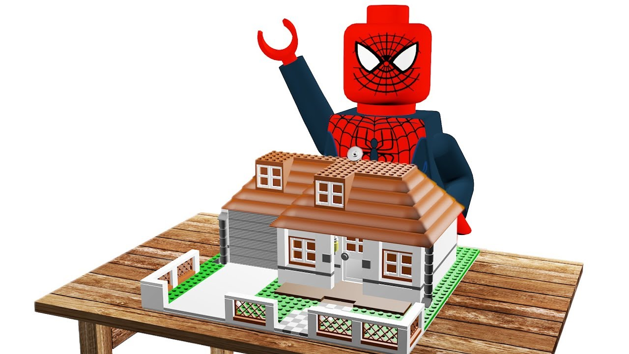 Lego Spiderman Brick Building Great House - Stop Motion Animation