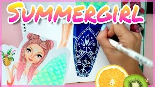 Topmodel malen | Summergirl | How to draw girl with surfboard || Foxy Draw