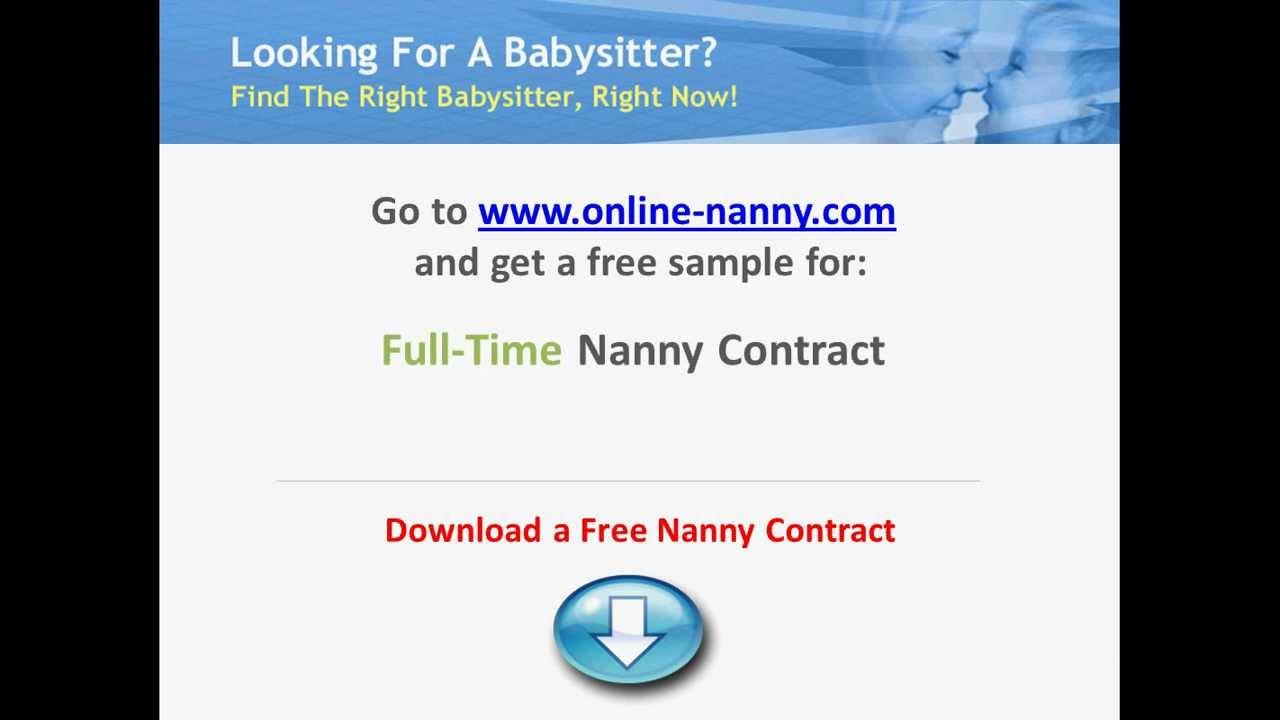 Sample Nanny Contract Download Contracts For FREE YouTube – Nanny Contracts
