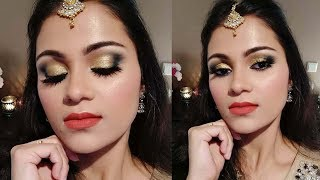 Eid/Party /Wedding Guest Makeup Tutorial 2018 In Hindi |Easy Green + Gold Eyes