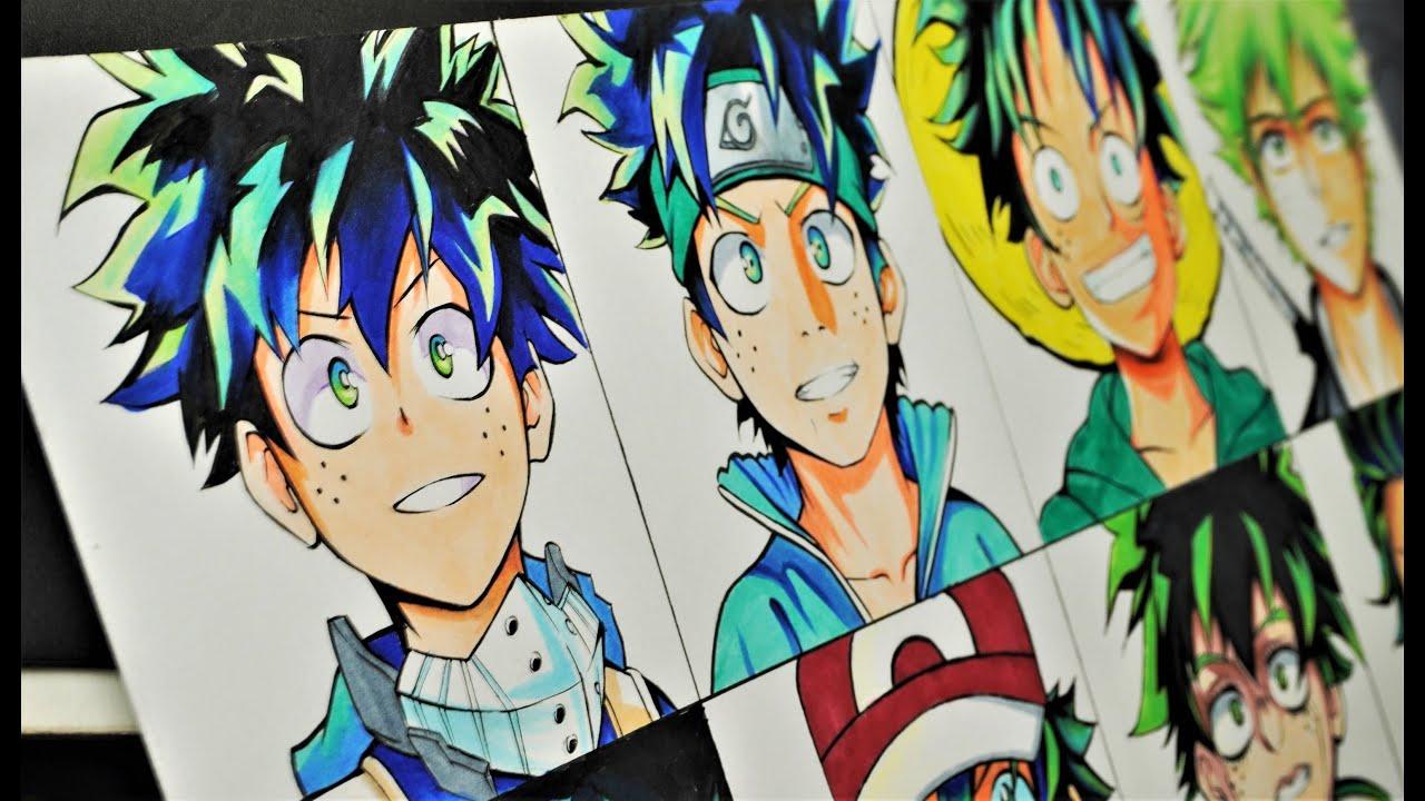 Drawing Midoriya Izuku in different anime styles