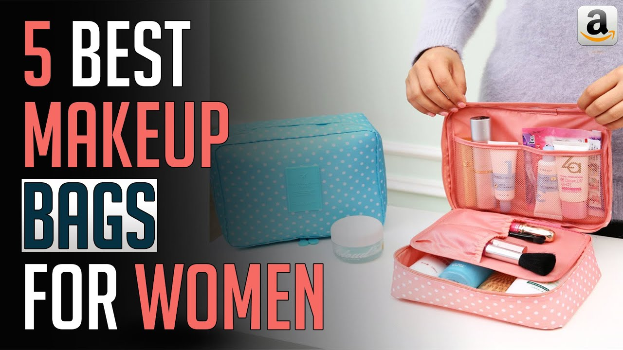 video 7.9 Inch Makeup Bag for Women,Pouch Bag,Makeup Brush Bags Travel Kit Organizer Cosmetic Bag for Women Girls Compact Makeup Storage Brush Holder(Black)