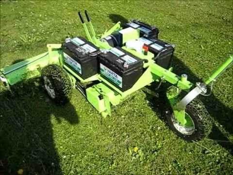 The electric reel lawn mower in operation  A real DIY project
