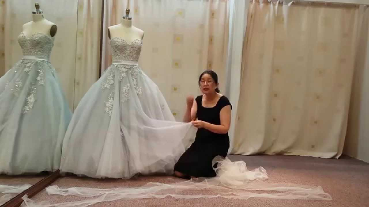 Shorten princess ball gown wedding dress - YouTube