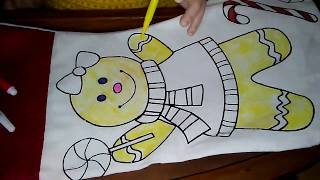 Reborn toddler Hailey is coloring a Christmas stocking
