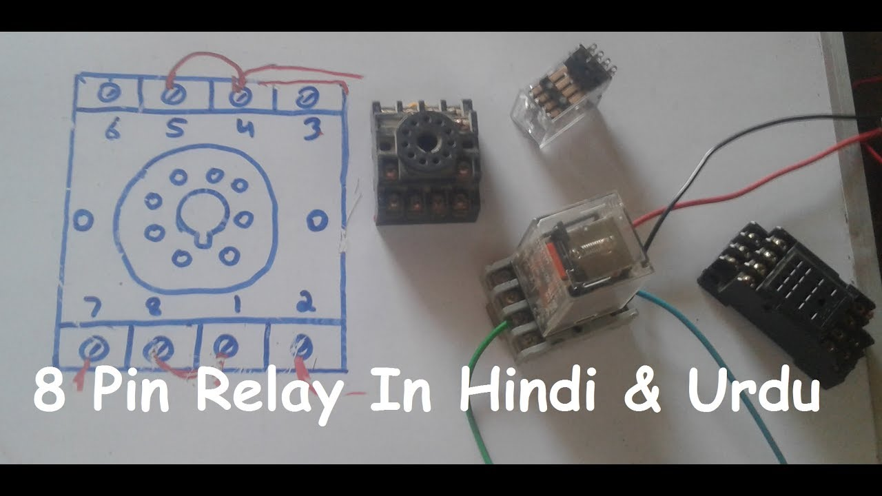 8 pin relay wiring connection with base socket in hindi urdu youtube dpdt relay schematic 8 pin relay base wiring [ 1280 x 720 Pixel ]
