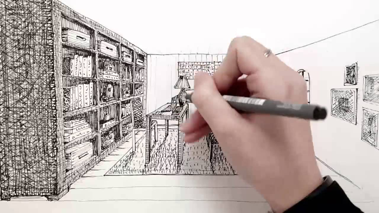 Interior Designers Drawings hand drawing - interior design courses - youtube