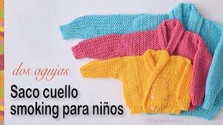Repeat youtube video Saco con cuello smoking para niños tejido en dos agujas: 3 tallas!