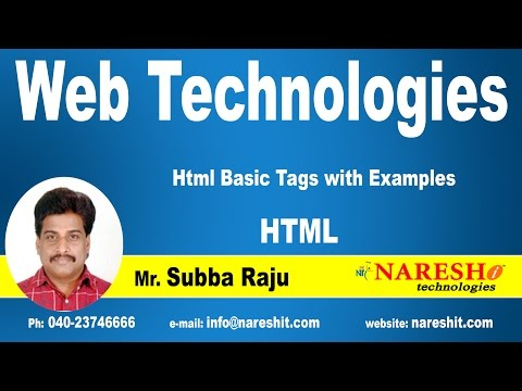 Html Basic Tags With Examples | Web Technologies Tutorial  | Mr.Subbaraju