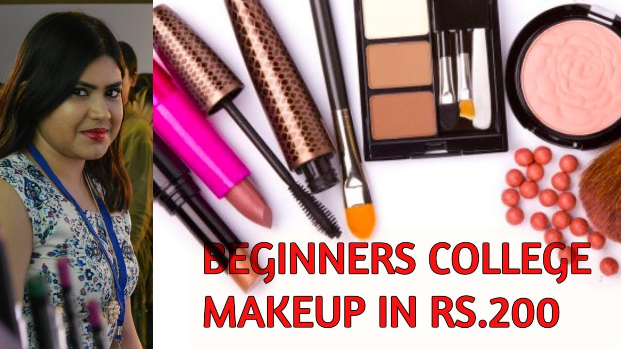 College Makeup Essentials under Rs 200 - Indian beginners affordable makeup kit in hindi