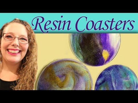 Resin painting! Painting Acrylic Coasters with leftover resin.