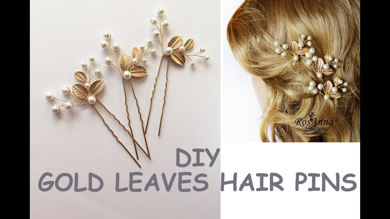 easy diy bridal gold leaves hair vine pins bridal hair tutorial