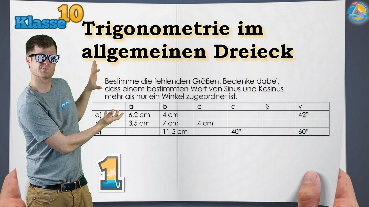 Trigonometrie im allgemeinen Dreieck || Klasse 10 ☆ Übung 1 - YouTube